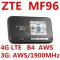 Разблокирована ZTE MF96 4G LTE Mobile Hotspot Wi-Fi Маршрутизатор FDD AWS 1900 МГЦ карман мифи 4 г wi-fi dongle пк mf95 mf910 mf93 mf90