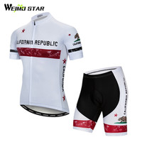 California Republic Team Cycling Clothing Summer Short Sleeve MTB Cycling Jersey Set Men Anti UV Bicycle Wear Quick Dry Bike Kit