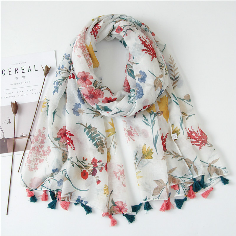 Woman Cotton Shawl  Spring Summer Winter Large Sunscreen Scarf With Tassels Cozy Soft Wraps Femme V9A185084