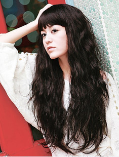 Women's wifing qi long curly hair fashion bangs fluffy repair high temperature wire wigs