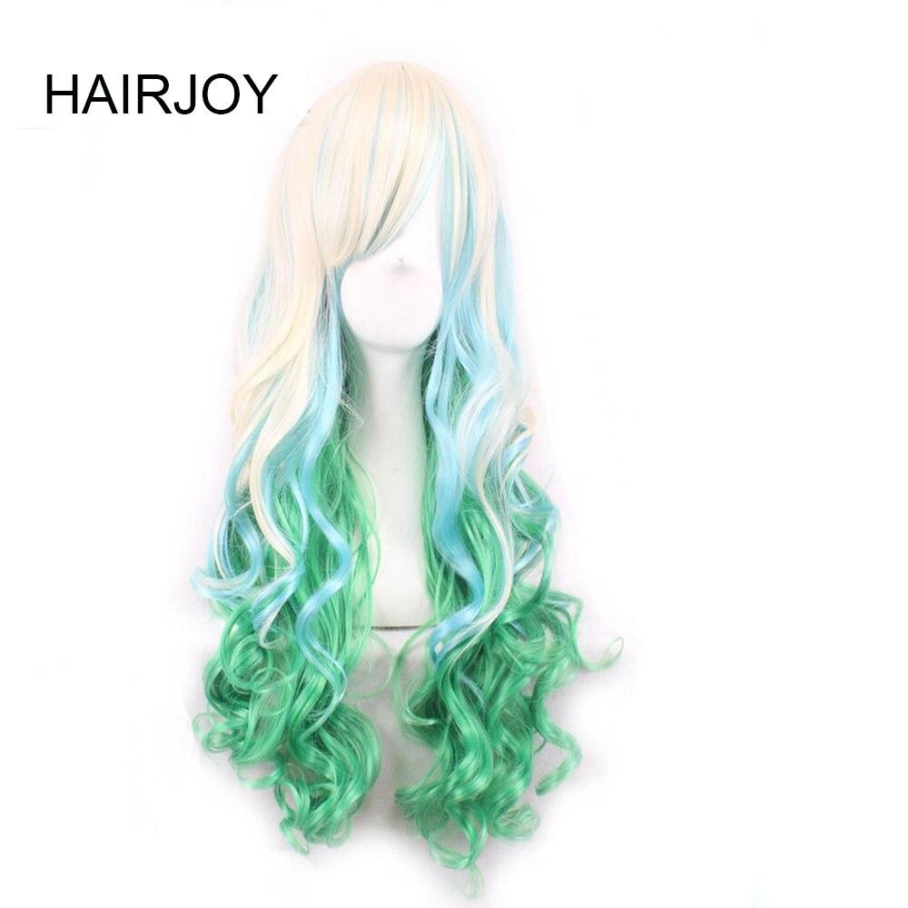 HAIRJOY Synthetic Hair Zipper 70cm Long Wavy Harajuku Lolita Cosplay Wig 18 Colors Available 117