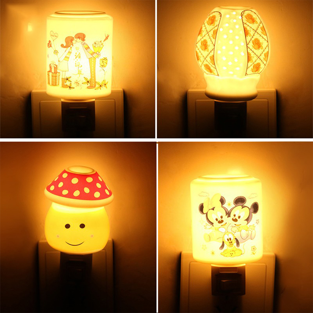 Aroma night lamps - High Quality Children Room Bedroom Night Light Lamps 110v 220v Ceramics Aroma Bedside Lamps Energy