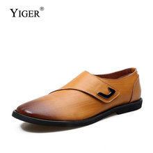 YIGER New Man Loafers Genuine Leather Men Casual Hook&Loop shoes Leisure Slip-on Male Driving Breathable  0133