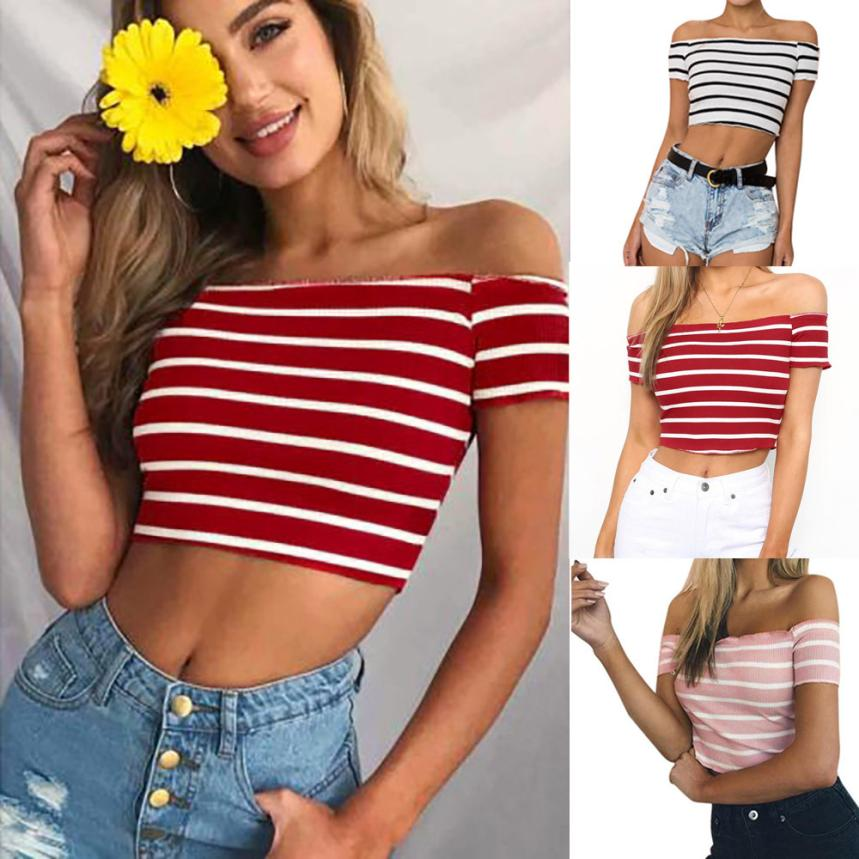 KANCOOLD Tops High Quality Ladies Off Shoulder Short Sleeve Striped Tops Clothes T-Shirt Summer Tops For Women 2018 Ap26