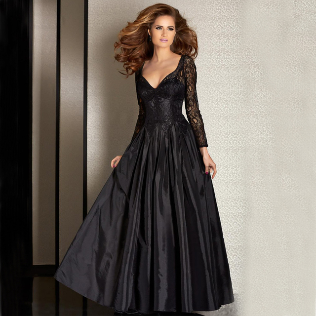 Elegant Black Evening Dresses 2017 V Neck Lace Long Sleeve Floor ...