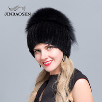 JINBAOSEN 2018 Russian market fur hat fox fur wing shape Mink Fur Hat Winter women's trip Ski Hat silver fox fashion fur hat