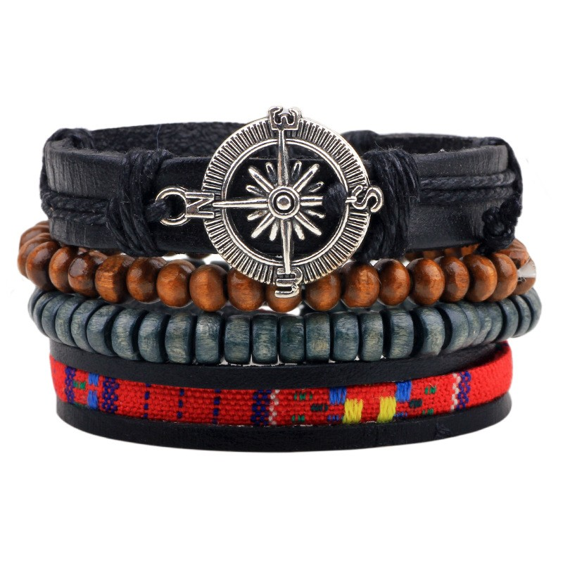 5pcs/lot Charm Leather Multilayer Compass Bracelet Mens Ethnic Bohemian Black Leather Wrap Cuff Bracelets Wood Beads Braslet