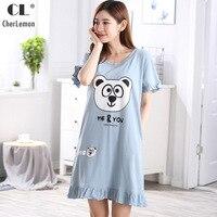 CherLemon New 2018 Women Summer Sweet Big Panda Pattern Cotton Nightgown Girls Lovely Short Sleeve Sleepshirt