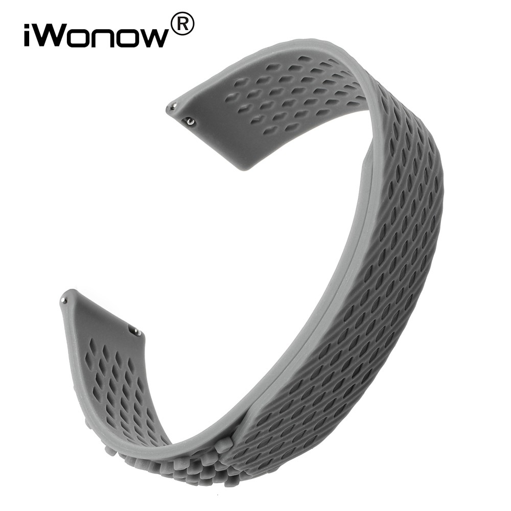 Silicone Rubber Loop Watchband 22mm for Asus ZenWatch 1 2 Men WI500Q/501Q Vector LG G Watch Quick Release Band Wrist Strap Black