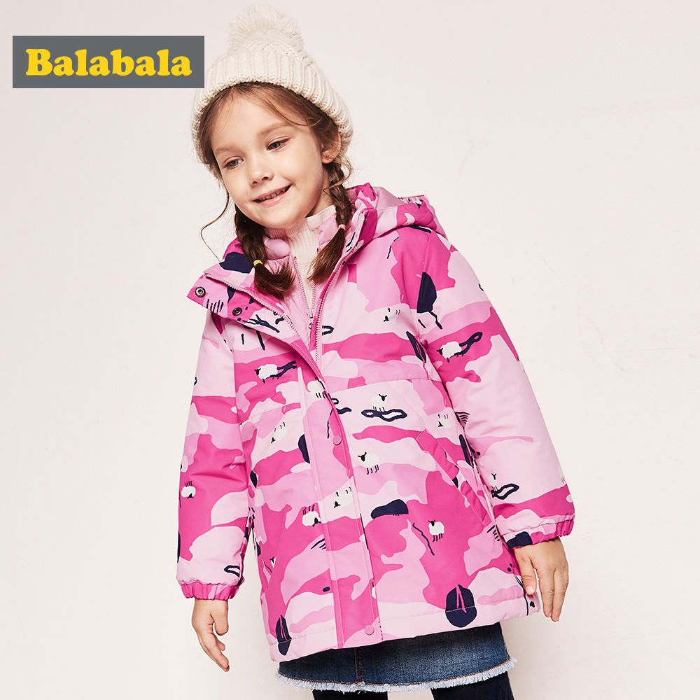 Balabala Winter Children Thick Long Down Jacket girls Warm Solid Coat Girl Cute printed style slim