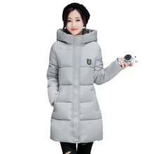 Woman Winter Jacket Coat 2017 Fashion Cotton Padded Jacket Long Style Hood Slim Parkas Plus Size Thicken Female Outerwear