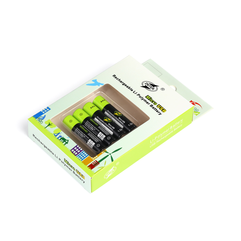 ZNTER 4pcs 1.5V 600mah AAA Rechargeable Battery USB Rechargeable Lithium Polymer Battery Quick Charge by Micro USB Cable