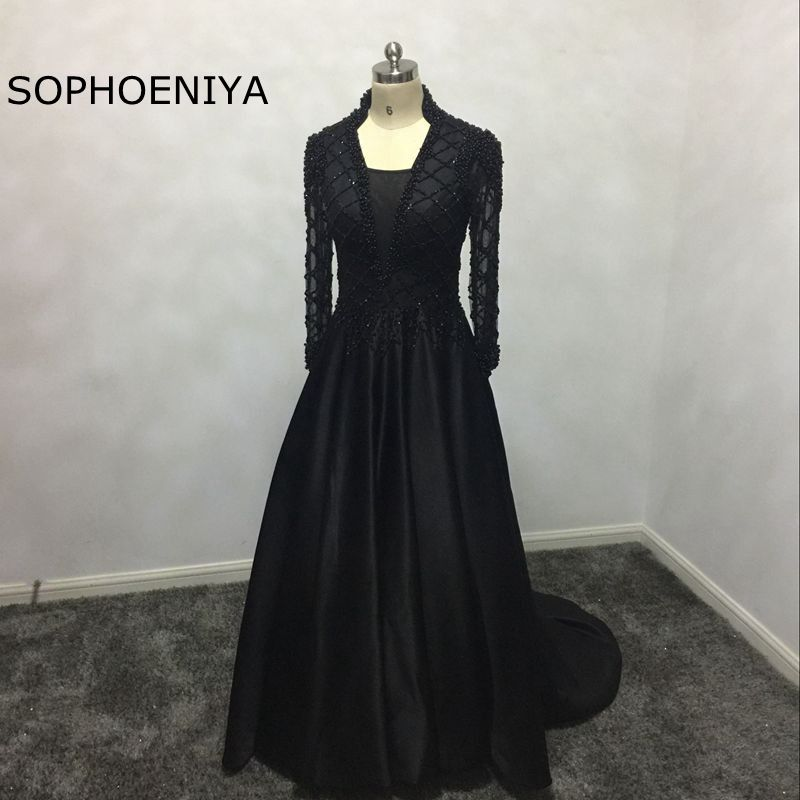 New Arrival Long sleeve Evening dress 2019 formal dress hand Beading Kaftan Evening gowns Vestido de festa abiye Party dresses