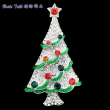 Rhinestone Christmas Tree Brooches Broach Pins for Women Party Gifts Austrian Crystals 2015 New Fashion Free Shipping LSYP0602