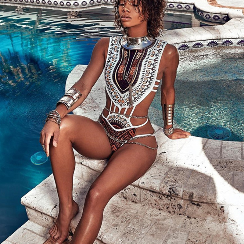 2018 New Hanging Neck One Piece Swimsuit Bandage bodysuit African Printed Swimwear Female High Cut Monokini Sexy High Neck plunging neck printed one piece swimwear