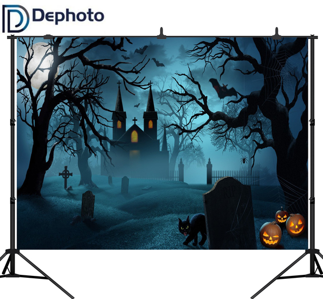 DePhoto Photography Background Castle Moon Bats Cat Tombstone Tree Halloween Theme Backdrop Photo Studio Camera Fotografica