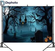 Fotografia tła DePhoto zamek księżyc nietoperze kot nagrobek drzewo motyw halloween zdjęcie tła kamera studyjna Fotografica