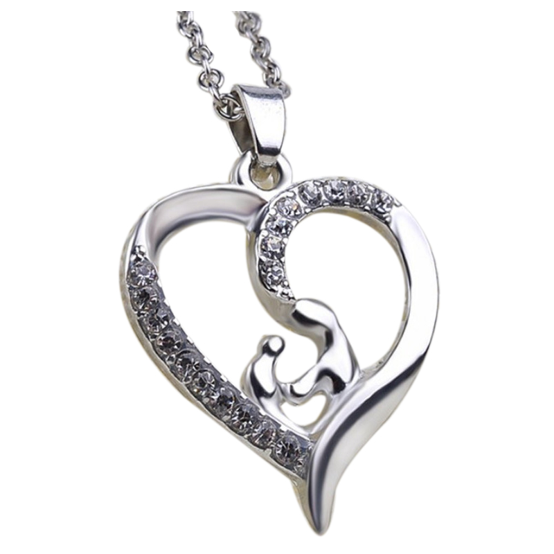 mother child Holding hands Heart-shaped Inlay Pendant Necklace