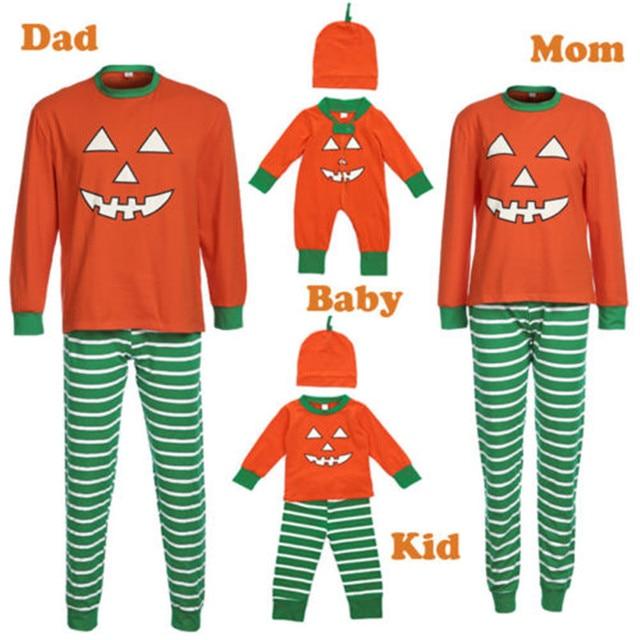 Halloween Family Matching Pajamas Set Adult Womens Mens Kids Baby Sleepwear  Long Sleeve Striped Pumpkin Printed 1b4ba11e7