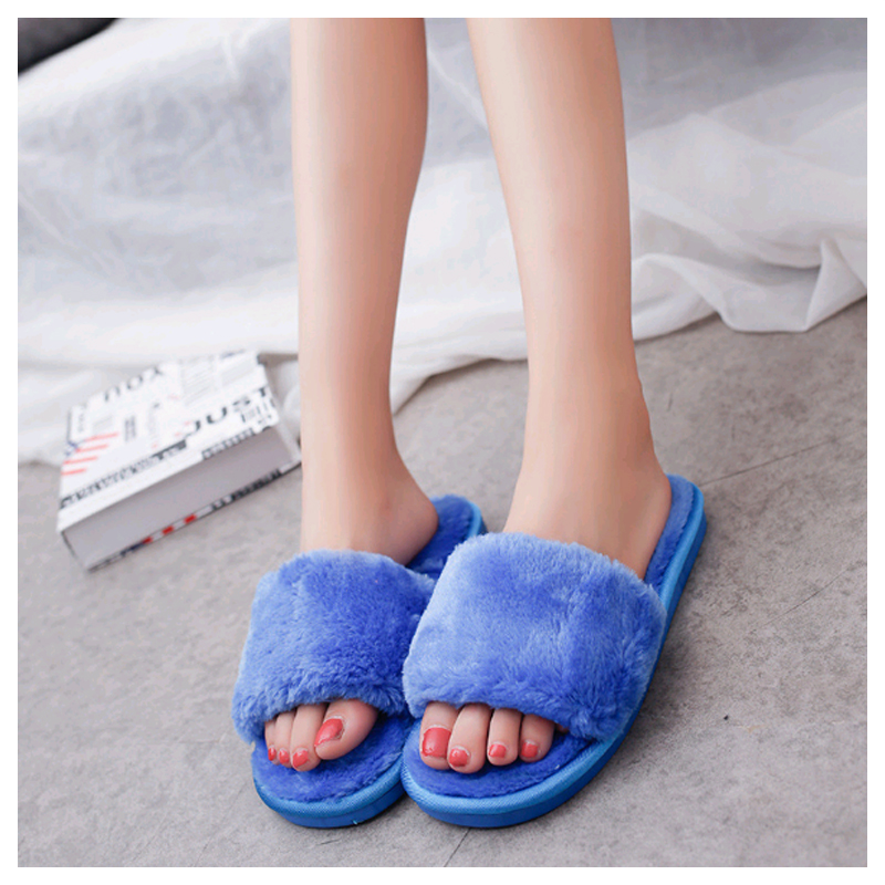 Autumn And Winter Home Shoes Women Word Plush Cotton Slippers Indoor Warm Lovers Slippers Flat Bottomt Non Slip Plush Shoes in Slippers from Shoes