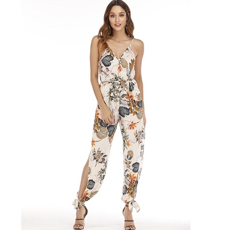 Female Jumpsuit for Women 2019 Floral Print Jumpsuit Trousers Female Bohemian Rompers Womens Jumpsuit Long Pants Summer Overalls