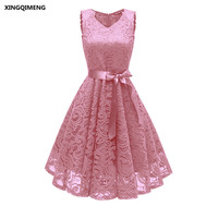 In Stock Full Lace Cocktail Dresses with Sashes Elegant Short Pink Formal Dress Wine Red Women Girl Dress Chic Short Prom Gown