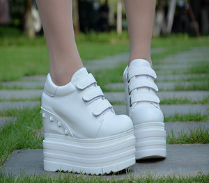 2019 new height increase women's shoes 14 cm thick bottom wedge casual shoes super high single shoes