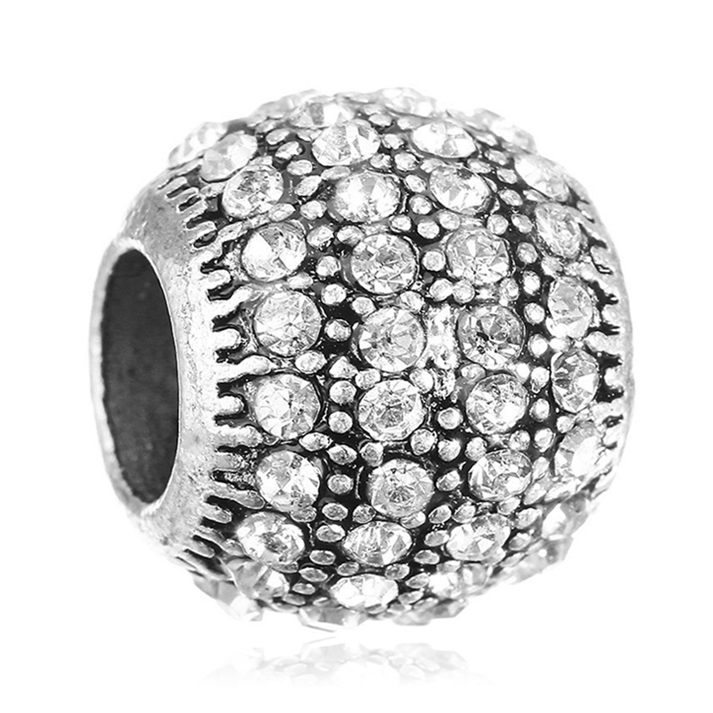 New Fashion Round shape Full with Clear Crystal Rhinestones DIY Bead Charms Fit For Pandora Charms Bracelets