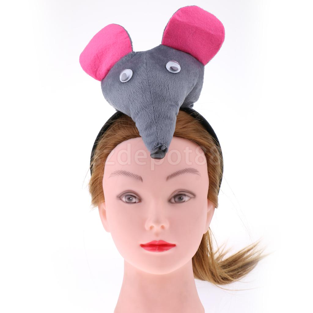 Mouse Ears On Headband Adult Fancy Dress Rodent Animal Rat Costume Accessory New