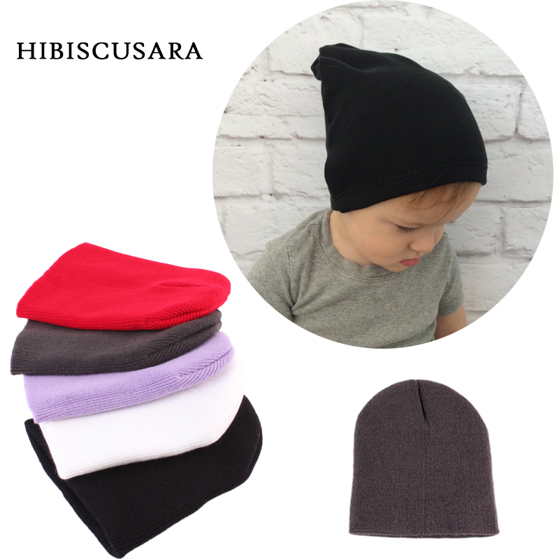 0-6 Months Baby Knitted Hats Solid Color All-matches Autumn Winter Hat Caps Infant Newborn Soft Bonnet Beanie Earflaps Fashion