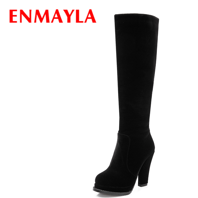 ENMAYLA Winter Fashion Crystal Knee High Boots Women Flock High Heels Platform Boots Rhinestone Shoes Black Red Brown Long Boots enmayla winter autumn high heels lace up knee high boots women shoes sewing green brown black knigh long boots