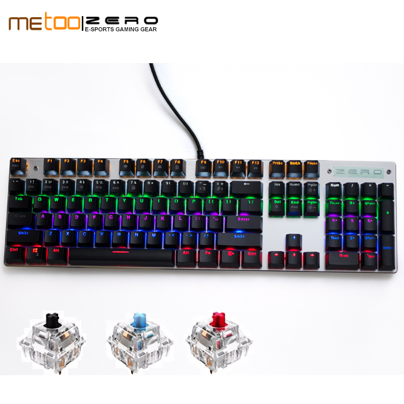 b66a33363ae ME TOO original gaming Mechanical Keyboard 104 keys usb Wired keyboard blue/ red/black switch Keyboard English/Russian/Spanish