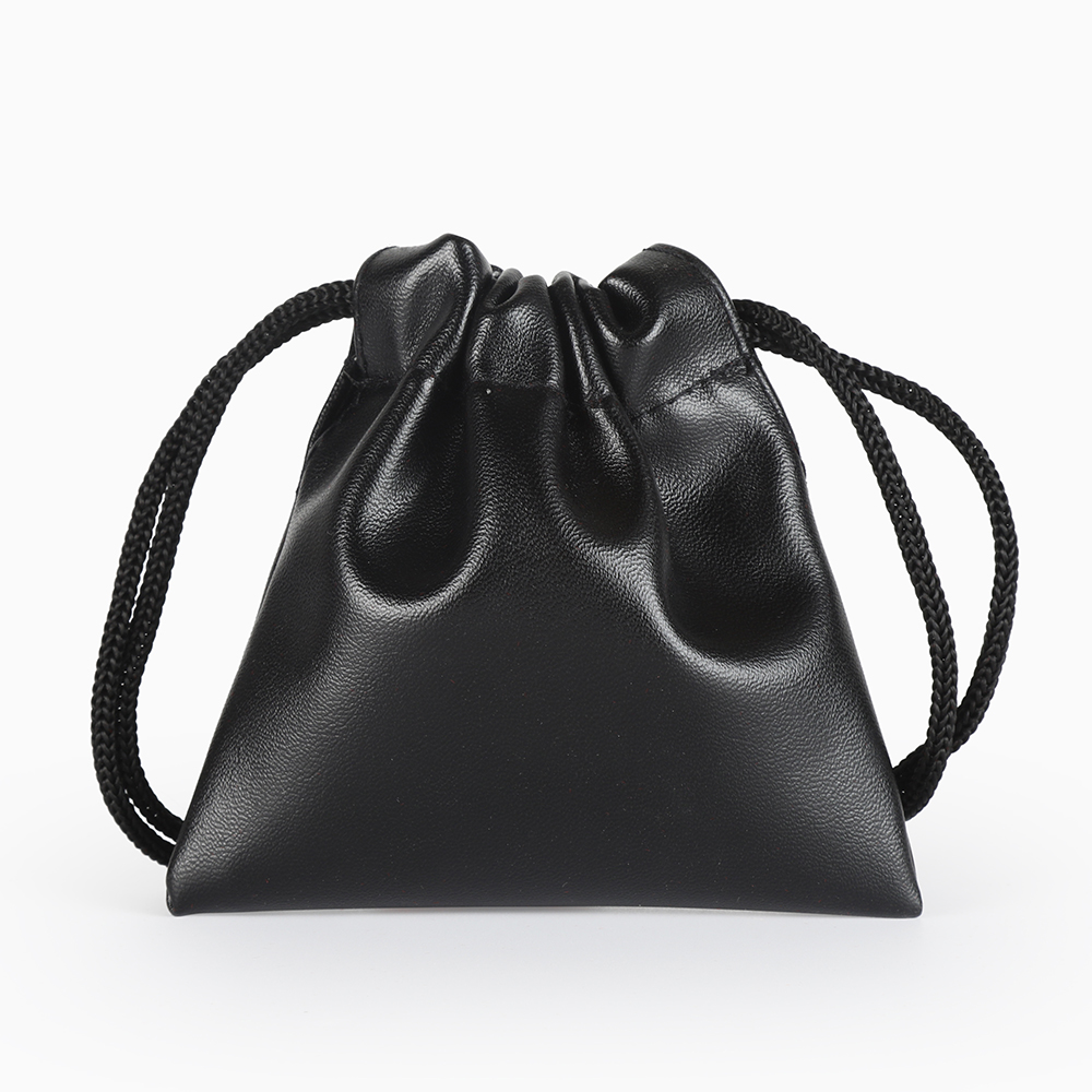 5pcs/Lot 7*8 Cm Jewelry Packaging Bag Black Leather Bag Custom Logo Print Drawstring Bag Wedding Christmas Gifts Bag