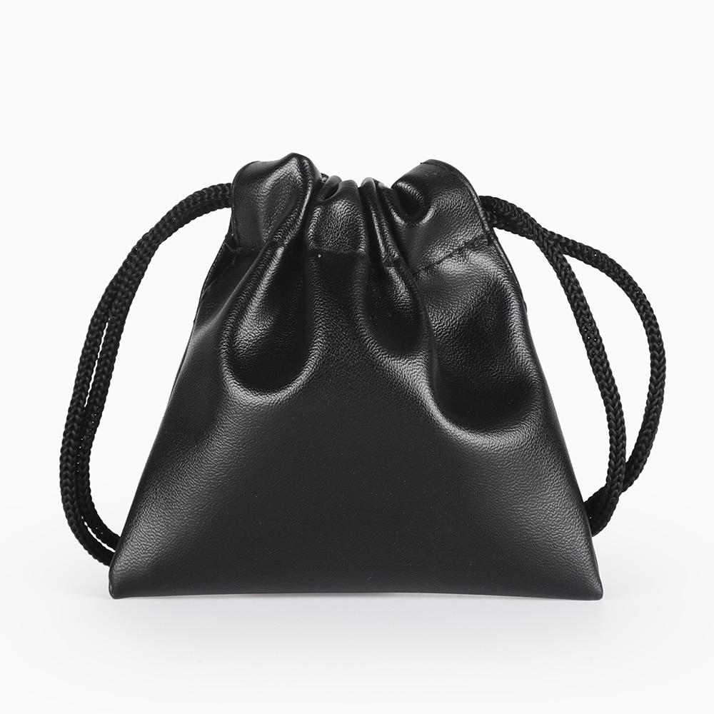 5pcs/Lot 7*8 Cm Jewelry Packaging Bag Black Leather Bag Custom Logo Print Drawstring Bag Wedding Christmas Gifts Bag