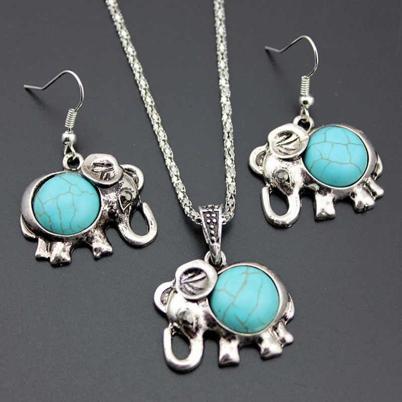 Antique Silver Color Jewelry Set Elephant Pendant Blue Beads Necklaces Drop Earrings  Statement Charm For Women Choker