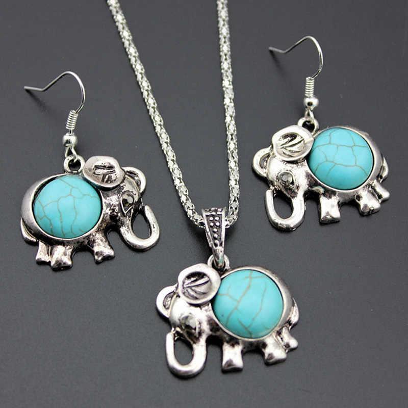 צבע כסף עתיק תליון פיל סט תכשיטי הצהרת עגילי טיפת קסם עבור נשים קולר שרשרות חרוזים כחולים