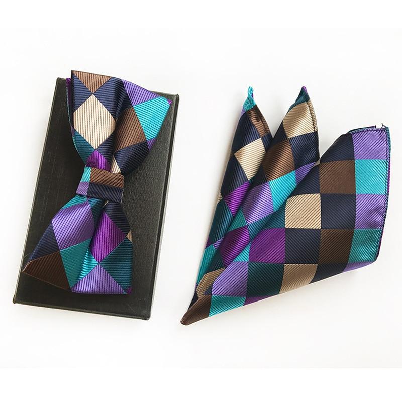 Men's Multi Color Stitching Grid Jacquard Self Bow Tie Pocket Square Set Wedding Party