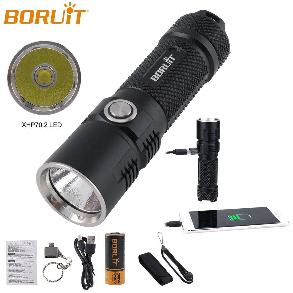 BORUiT IPX8 étanche XHP70.2 lampe de poche LED avec fonction mémoire USB Rechargeable lanterne Portable Camping chasse torche lumière