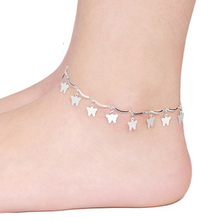 Womens Foot Jewelry butterfly Ankle Barefoot Link Chain Beach Anklets Bracelet & bangles silver plated jewellery JL031R