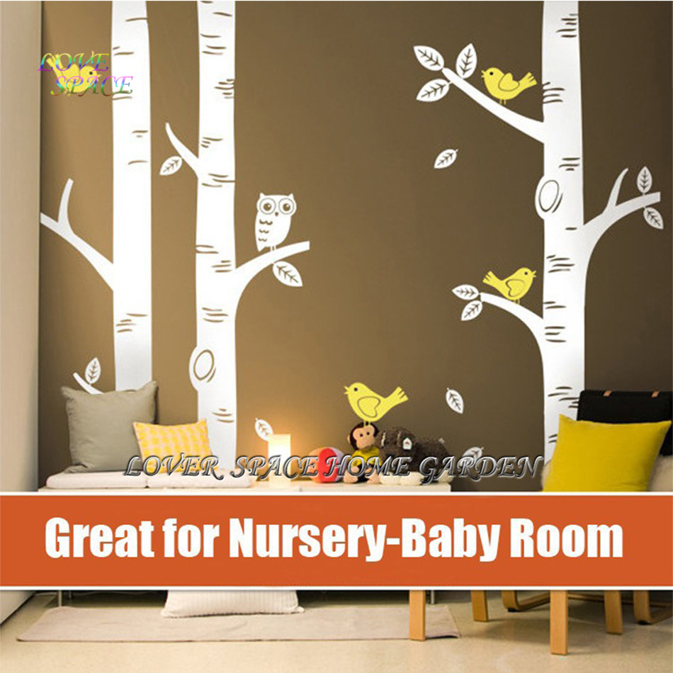 Owl decor for baby room - Top Owl Birds Wall Sticker 3 Big Birch Tree Wall Decals Great For Nursery Baby