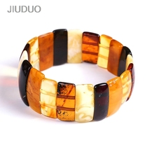 JIUDUO Unique super burst 100% Natural amber beeswax multi-treasure hand string bracelet lady genuine noble grade special BT0028