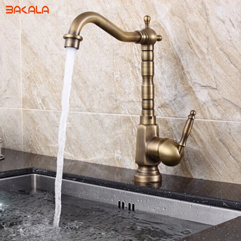 Free shipping BAKALA kitchen faucet antique  Brass  Mixer Tap Single Handle GZ-8105 brand new free shipping antique brass tap antique kitchen faucet