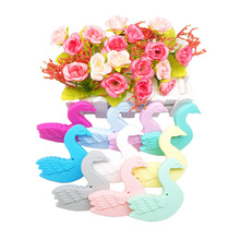 Chenkai 10PCS Silicone Goose Animal Teether Baby Swan Pacifier Dummy Sensory Pendant Food Grade For DIY Infant Toy Accessories