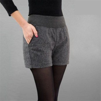 New Autumn Winter Women's Clothing Slim wild Pocket Contrast Color Shorts Female Woolen Crimping Short Pants thick Download D016 1