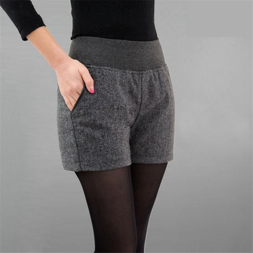 New Autumn Winter Women's Clothing Slim wild Pocket Contrast Color   Shorts   Female Woolen Crimping   Short   Pants thick Download D016