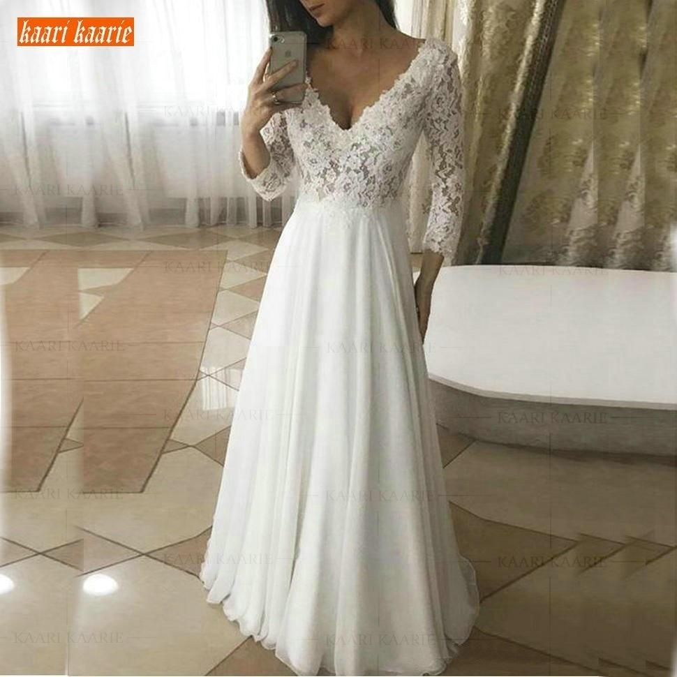 Elegant Chiffon Boho Deep V-Neck Wedding Dresses Long Sleeves 2019 Country Style A Line Wedding Gowns Floor Length Bridal Dress