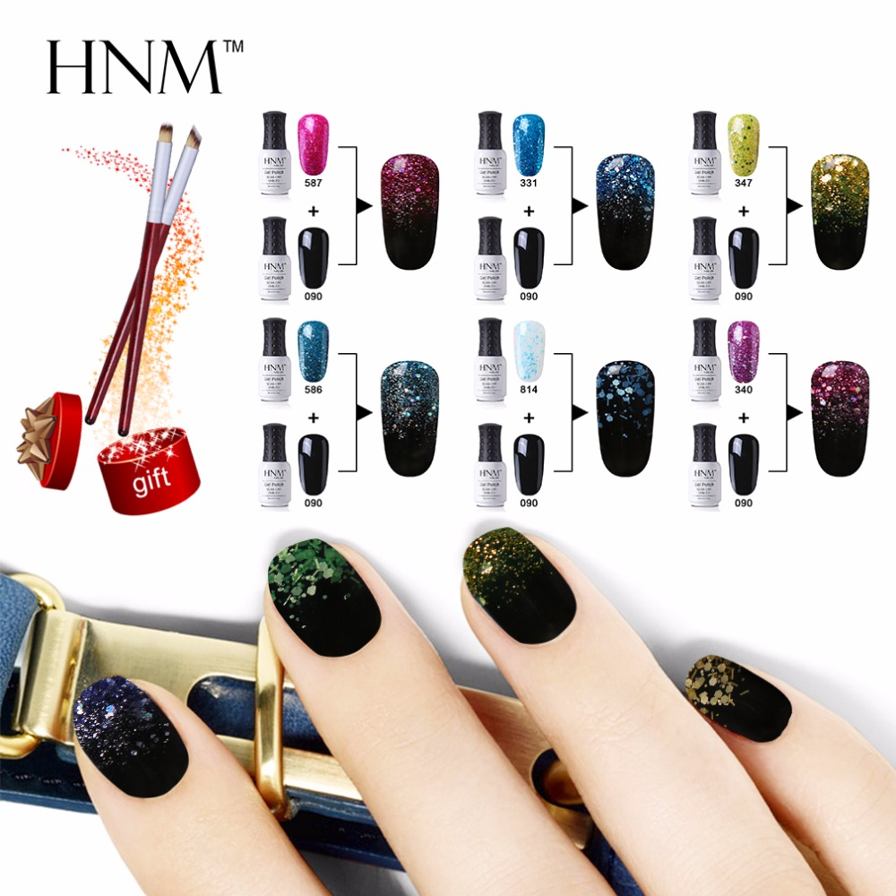 buy hnm 2pcs gradient gel polish 1pcs nail brush kit long lasting vernis semi