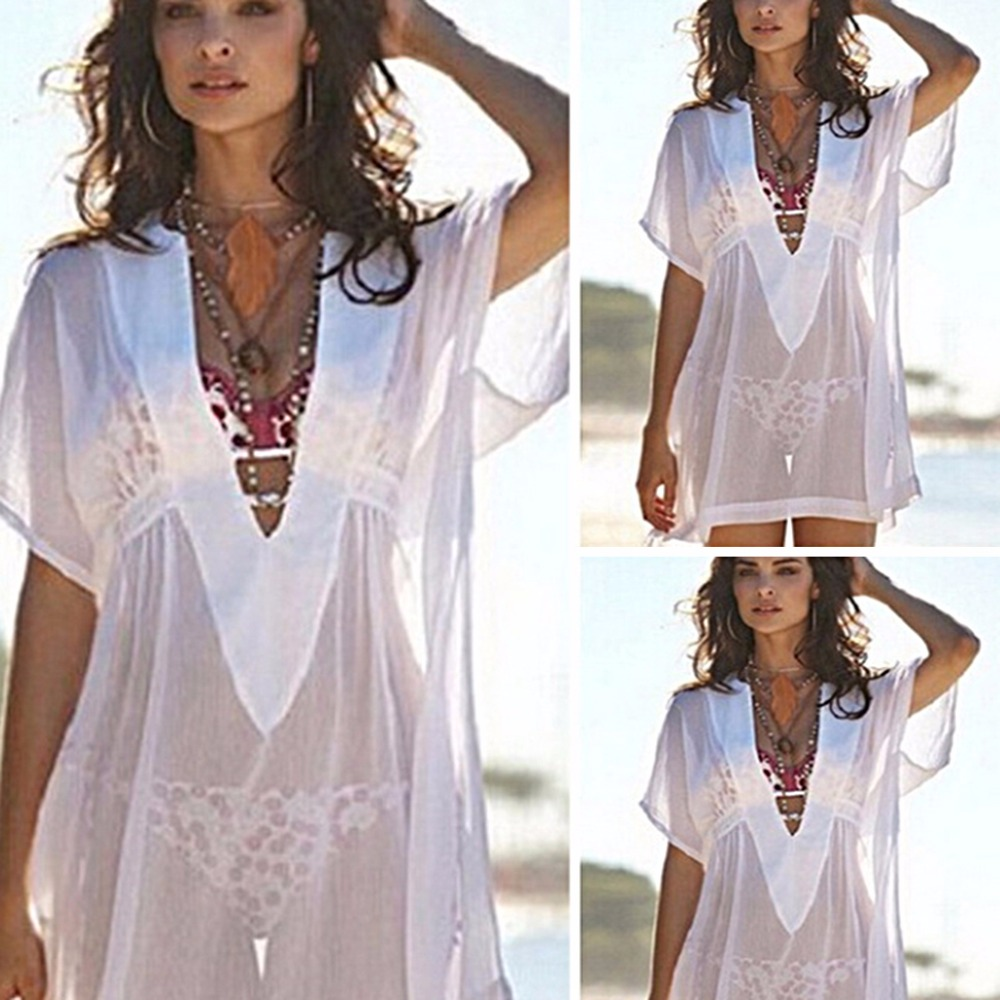 Women Chiffon Bik iniCover Up Perspective V-neck SwimsuitSwimwear Beach Dress цена
