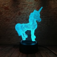 3D Creative Luminaria Unicorn LED Table Lamp Lantern 7 Color Change Night light Lampe Led Cartoon Usb Light Xmas New Year Gifts 4