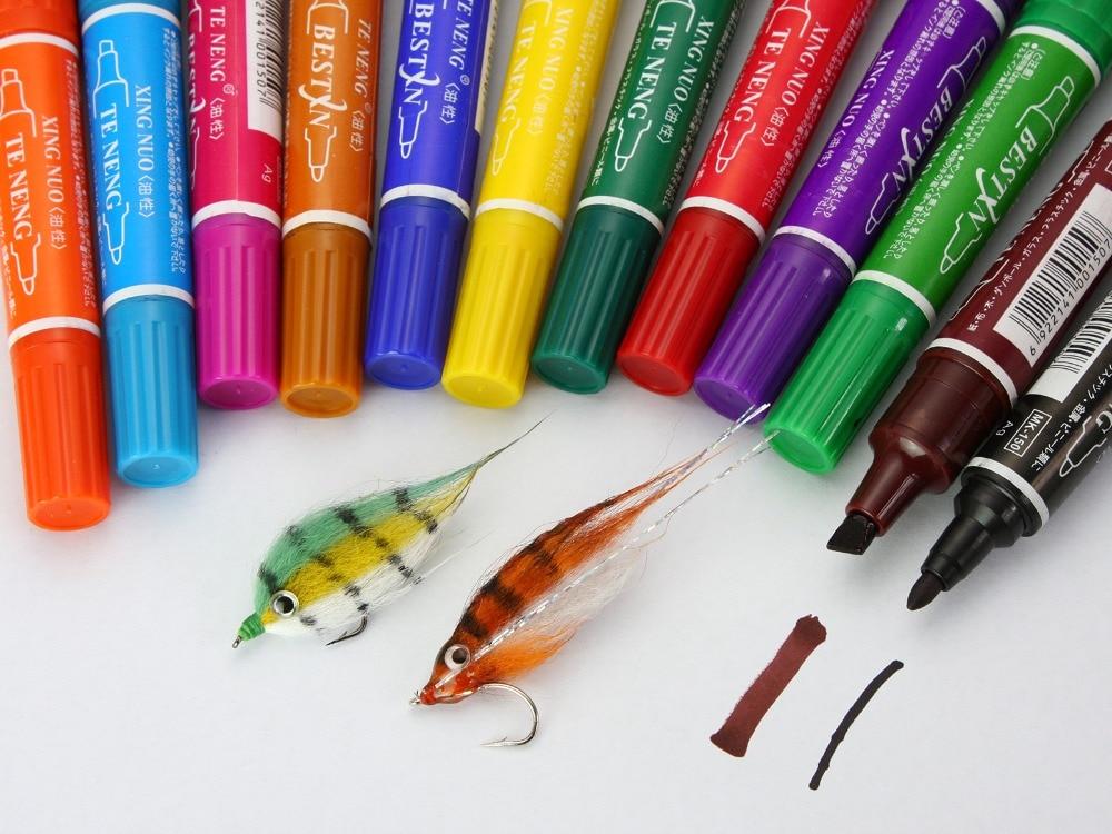 Fly Tying Marker Set tahan air 12 Warna; - Penangkapan ikan